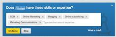 Endorse skills in LinkedIn zorgen ervoor dat recruiters je sneller vinden op basis van je kennis.