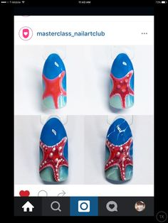 Star fish Fish Nail Art, Fish Nails, Beach Nail Art, Sea Nails, Navy Nails, Nail Art Diy, Anchor Nail Art, Marine Nails, Nail Ink