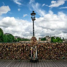 Locks for lovers on the bridge at Pont Des Arts in #Paris. Photo courtesy of nodestinations on Instagram.