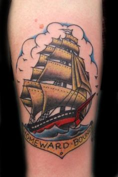 Old school ship tattoo.