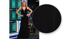 FAVIANA  Black jersey gown w/lacing across CF v-neckline, sleeveless, lacing down CB, flared hemline w/train | Vanna White's dresses | Wheel of Fortune