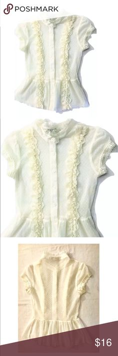 La Belle Romantic Sheer Ivory Ruffle Blouse La Belle Romantic Sheer Ivory Ruffle Button Front Blouse SIZE Small  It is in very gently used, overall very good clean condition  I try my best to capture the correct color/shade.  The actual shade may very in person.  Very Sheer see through fabric Button front, ruffle details Size: Small Bust: 28 inches around unstretched Length: 21 inches 100% Nylon  Thank you so much! La Belle Tops Blouses