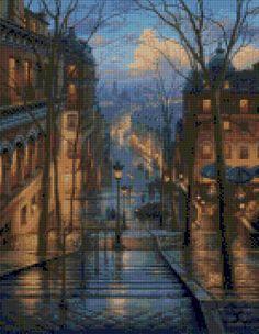 Montmarte Paris Evening Cross Stitch pattern PDF - Instant Download! by PenumbraCharts on Etsy