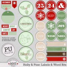 freebie, christmas, december daily, project life, printables, digital scrapbooking, mistyhilltops.com,  Freebie Freitag: Holly & Pine  Mistyhilltops