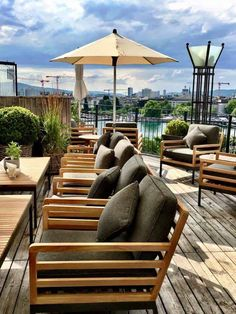 at the Hotel Ambassador Great Hotel, At The Hotel, Switzerland Hotels, White Ducks, Rooftop Terrace, Outdoor Furniture Sets, Outdoor Decor, Warm Coat, Zurich