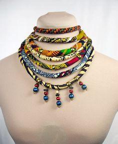 Wood Bead Ankara Choker Necklace Dangling by ETurnerCouture