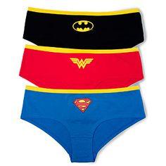 ThinkGeek :: Superheroine Boyshorts I wouldn't mind getting underwear for my birthday if they were these ones. Batman Wonder Woman, Nerd Love, Boy Shorts, Supergirl, Dress To Impress, Sexy Lingerie, Cool Outfits, Geek Stuff, Marvel