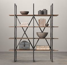 """Sturdy steel frame with brushed metal finish  Frame's unique X-brace support gives the design an airy openness  Reclaimed pine shelves are hand-finished for a distressed, weathered patina  4 generously sized fixed shelves  Well suited to an office, living room or kitchen – or any room where storage is needed  DIMENSIONS  43""""W x 19""""D x 79""""H  67""""W x 19""""D x 79""""H  $595 for smaller one"""