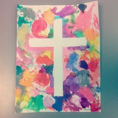 Card stock, painter's tape, watercolors. Bam. #thecross #easter #preschool #crafts