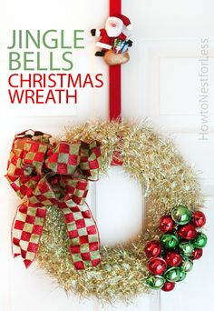 LOVE this simple and adorable Jingle Bells wreath. Super easy to make on a budget!