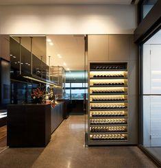 Loft-stil Raumplanung-Trennelemente Glas Türen-Küche mit Weinregalen-Coppin-JAM