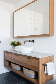 Timber Vanity and Shaving Cabinet - Timber Vanity and Shaving Cabinet Both pieces are custom made from Spotted Gum. Bathroom Tapware, Bathroom Renos, Laundry In Bathroom, Bathroom Renovations, Timber Bathroom Vanities, Master Bathroom, Simple Bathroom, Modern Bathroom Design, Bathroom Interior Design
