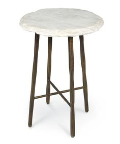 White Marble Top Side Table - FURNITURE - Tables - Side and Occasional Tables