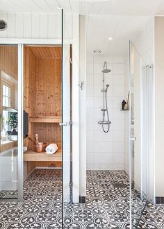 Painted Tile - Transitional Style - Sauna Design - Steam Room - Home Spa