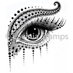 Lavinia Stamp - Simmi-Simmi depicts a beautiful and highly detailed eye with decorative additions. Size: x Clean, clear, and easy to use, they are manufactured from high quality transparent resin, ready for mounting on clear acrylic stampin Doodle Art Drawing, Zentangle Drawings, Mandala Drawing, Mandala Sketch, Aztec Drawing, Watercolor Mandala, Mandala Art Lesson, Mandala Artwork, Art Drawings Beautiful