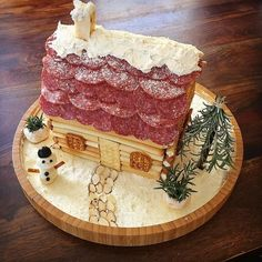 Win Christmas Dinner With A Savory Charcuterie Chalet - Nancy Zylka - Win Christmas Dinner With A Savory Charcuterie Chalet Win Christmas Dinner With A Savory Charcuterie Chalet - Savory Charcuterie gingerbread house - Holiday Baking, Christmas Baking, Christmas Treats, Christmas Cookies, Christmas Time, Christmas Parties, Xmas Party, Christmas Stuff, Halloween Gingerbread House