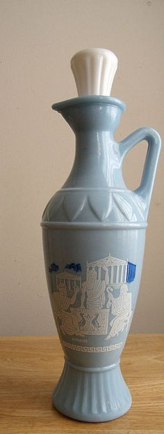 Jim Beam Liquor Decanter Blue Milk Glass With Greek Design  Picked this one up at an estate sale!