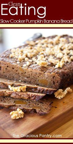 Clean Eating Slow Cooker Pumpkin Banana Bread. Let dessert bake itself!