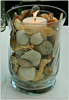 Crafts with shells - 42 inspiring ideas for creative Basteln mit Muscheln- 42 inspirierende Ideen für kreative Köpfe tinker with shells lanterns tinker candle - Seashell Art, Seashell Crafts, Beach Crafts, Home Crafts, Diy And Crafts, Crafts With Seashells, Seashell Decorations, Seashell Bathroom, Beach Centerpieces
