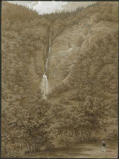 Eugène Viollet-le-Duc, la cascade du Cœur de la vallée du Lys, 20 août 1833 Aquarelle Ministère de la Culture (France), Médiathèque de l'architecture et du patrimoine, dist. RMN