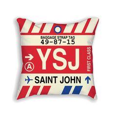 YSJ Saint John Airport Code Baggage Tag Pillow