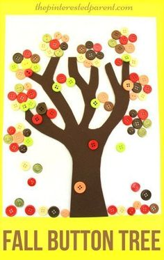 Fall Button Falling Leaf Tree Craft - autumn arts