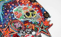 Multi layered free hand machine embroidered applique-by Laura Lees!