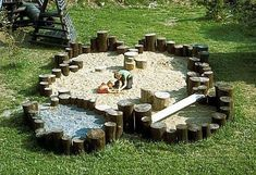 Adding stumps and other balancing elements creates a sand play area that is so much more than just a sand pit Natural Play Spaces, Outdoor Play Spaces, Kids Outdoor Play, Kids Play Area, Backyard For Kids, Children Play, Young Children, Backyard House, Jardim Natural