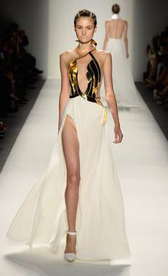 Alon Livné Spring 2014. Amazing fashion. Catwalk designs. Modern Dress, gold bustier.