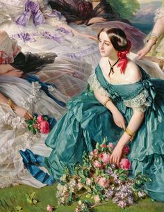 Franz Xaver Winterhalter- The Empress Eugénie surrounded by her ladies in waiting (detail) - 1855