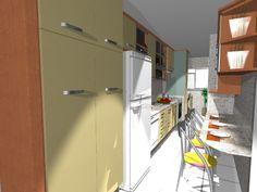 Uma cozinha linear em verde e madeira...