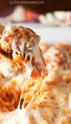 Chicken Parmesan Meatball Casserole Never thought about sing ground chicken for meatballs before