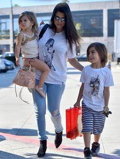 Kourtney, Mason, & Penelope going to dance class - March 26, 2015