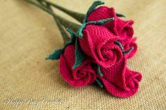 Crochet Rose Flower in a Closed Shape  by HappyPattyCrochet