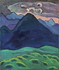 BLAUER KEGELBERG, 1930 by Gabriele Munter. Expressionism. landscape