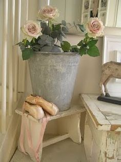 galvanized pail with roses
