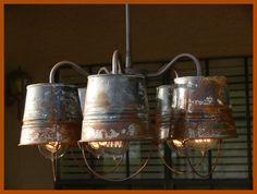 rusty bucket chandelier $250
