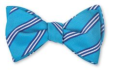 Aqua All Silk Bow Tie Hand-made in USA Click for Bow Tie Styles R. Hanauer bow ties are made to order.  If you are unsure about a color or design, just ask. We