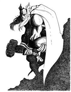 Guest Scowler: Thor by John Romita Jr. for Marvel Comics Marvel Art, Comic Art, Black And White Comics, Marvel Dc Comics, Drawings, John Romita Jr, Art, Romita, Jr Art