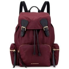Burberry The Large Leather-Trimmed Backpack (21.317.270 IDR) ❤ liked on Polyvore featuring bags, backpacks, backpack, red, red bag, rucksack bags, burberry backpack, knapsack bag and purple bag