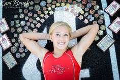 High School senior girl pictures sports track medals photo shoot session ideas Kari Bruck Photography