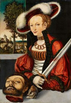 Lucas Cranach the Elder, followers of Judith with the Head of Holofernes Oil on panel (parquetted). 51 x 35 cm. Dated 1530 To The Centre of the winged serpent