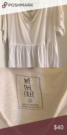 Free People White Peplum Tshirt White T-shirt material, perfectly for over a bralette or swimsuit. Slight peplum fit. Shoulders are oversized to be worn off the shoulder or pulled up. Free People Tops Tees - Short Sleeve