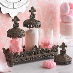 Fleur-De-Lis Canisters With Tray
