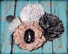 Peach, Black and White Hair Accessory, Fabric Flower Brooch, Headband. $23.50, via Etsy.