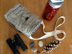 such a clever clever idea!  http://blog.betzwhite.com/2010/03/upcycled-water-bottle-sling.html#     Upcycled Water Bottle Sling