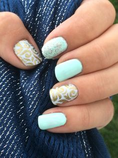 Chic nails with a classy accent! Gel nails! So fresh and enchanted.