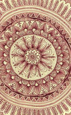 mandala: maroon Art Print by yes menu
