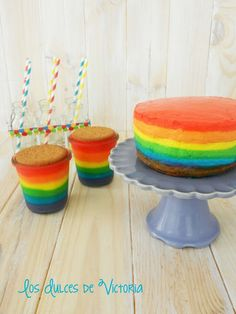Los Dulces de Victoria: Rainbow CheeseCake & Rainbow Custard - Tarta de Queso Arcoiris (sin horno) & Natillas Arcoiris