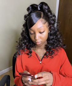 Magic Love Human Virgin Hair Loose deep Curl Pre Plucked Lace Front Wig &Full Lace Wig For Black Woman Free Hair Ponytail Styles, Weave Ponytail Hairstyles, Black Girl Braided Hairstyles, Baddie Hairstyles, My Hairstyle, Curly Hair Styles, Natural Hair Styles, Hairstyle Ideas, Protective Hairstyles